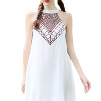 White Embroidered Sleeveless Shift Dress