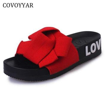 DCK7YE 2017 Sweet Bowtie Women's Sandals Summer Fashion Platform Flat Slippers Slides Slip On