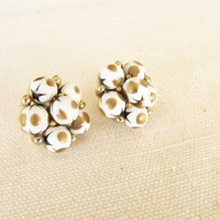 Vintage Cathe' Clip Earrings White Brown Dot Black Star Earrings