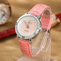 Rhinestone Ladies Diamonds Fashion Leather Stylish Floral Watch = 4815465988