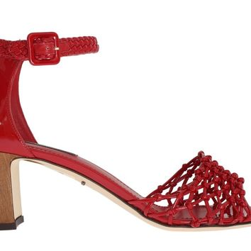 Red Leather Ankle Strap Sandals