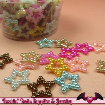 50 Pcs Pearlized STARS Decoden Flatback Kawaii Cabochons 12mm
