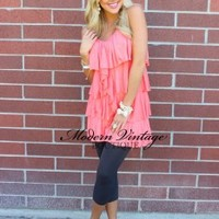 Girly Falls Tunic Salmon - Modern Vintage Boutique