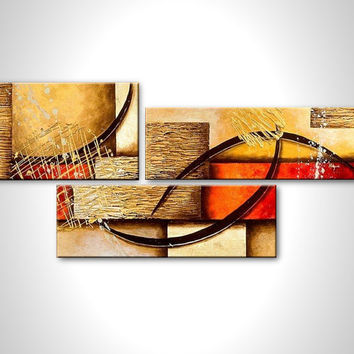 Abstract painting - brown yellow red - contemporary modern fine art - stretched canvas ready to hang - wall art - art deco - multi panel