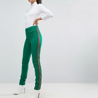ASOS TALL Cigarette Pants with Side Stripe In Green at asos.com