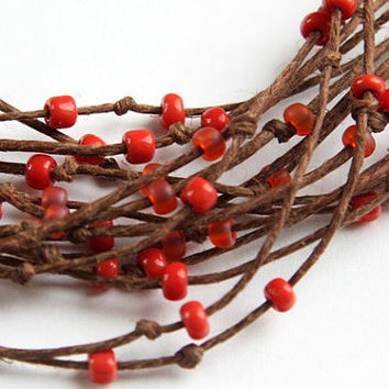 Eco Friendly Necklace - Multi Strand Necklace - Natural Polished Brown Hemp -  Orange Red Beads - Bird Nest Fiber Jewelry TAGT