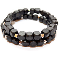 Men's Silver and Black Beaded Wood Stretch Bracelet (Set of 2)