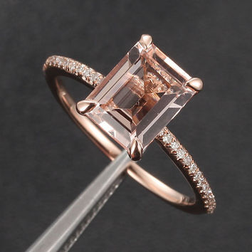 Morganite with Diamonds Engagement Ring in 14K Rose Gold, 6x8mm Emerald Cut Morganite,Shank Claw Prongs Wedding Ring, Anniversary Ring