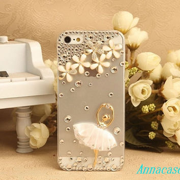 Ballet girl bling iphone5 case rose iphone case, i phone 4 4s 5 case, iphone4 iphone4s iphone5 case,cute crystal case.personality unique