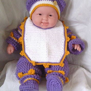 Sweater Set, Baby Set, Crochet Sweater Set, Infant Sweater Set, Lavender, Gold and White Sweater Set, Baby Girl Sweater Set