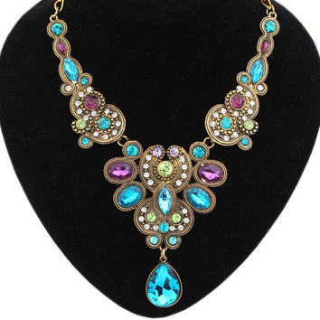 Stylish New Arrival Jewelry Gift Shiny Gemstone Water Droplets Necklace [6586421703]