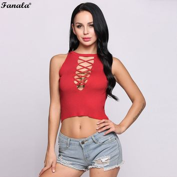 FANALA Lace Up Deep V neck Halter Tank Top Sexy Hollow Out Straps Crop Top Women Casual Summer 2018 Top Blusas Femme #30-25