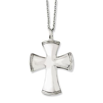 Stainless Steel Rounded Cross Pendant Necklaces - 39x32mm Cable