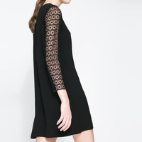 DRESS WITH GUIPURE LACE SLEEVE - Party - Dresses - WOMAN | ZARA United States