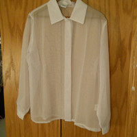 Sheer white long-sleeved blouse see-through vintage collar button up secretary 90s size M