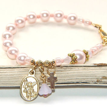 Pink Pearl Rosary Bracelet for Girl's First Communion or Confirmation Gift / Catholic Jewelry