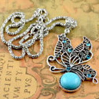 Butterfly Turq Pendant Fashion Necklace