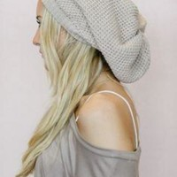 Slouchy Knitted Beret Beanie - Oatmeal
