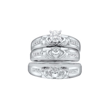 14kt White Gold His & Hers Round Diamond Claddagh Matching Bridal Wedding Ring Band Set 1/8 Cttw 43640