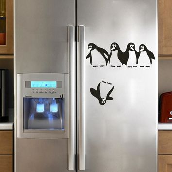 Penguin Kitchen Fridge Sticker Decals Dining Room Wall for Refrigerator Bathroom Nursery Room