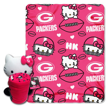 Packers  40x50 Fleece Throw and Hello Kitty Character Pillow Set
