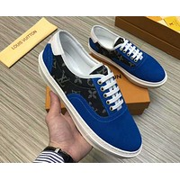 LV 2019 new style brand men's stitching printing low cut casual shoes Blue