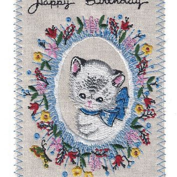 Sweet Kitten Cat Happy Birthday Embroidery Greeting Card