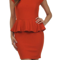 Jewel Necklace Peplum Dress - Rust