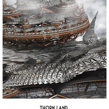 Art postcard digital fractal art 3d design Digital Print Thorn Land