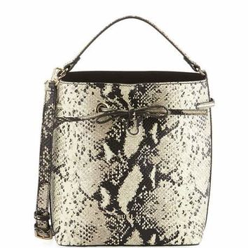 Furla Costanza Snake-Embossed Leather Bucket Bag