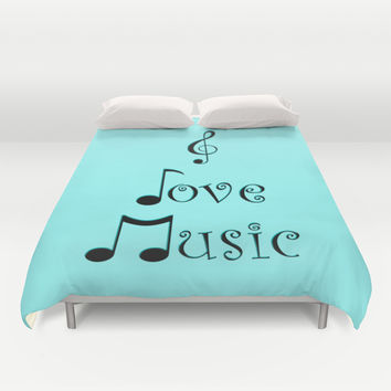 I Love Music - Techno Turquoise Duvet Cover by Moonshine Paradise