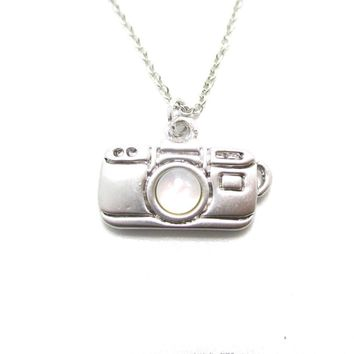 Small Camera Shaped Pearl Lens Pendant Necklace in Silver | DOTOLY