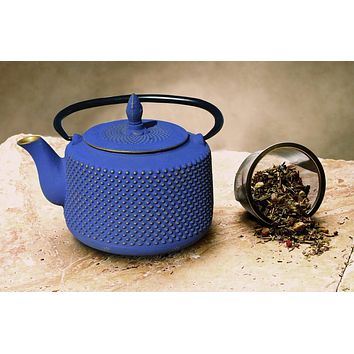 """Matsukasa"" Tetsubin Teapot in Deep Blue and Gold by Old Dutch International"