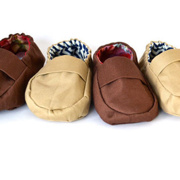 Custom Baby Loafers, Custom Baby Shoes Boy Khaki Tan Baby Boat Shoe, Baby Moccasin