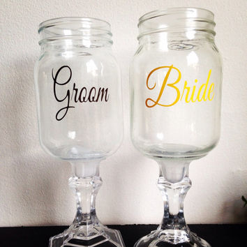 Bride and groom mason jar wine glasses redneck wine glasses wedding set