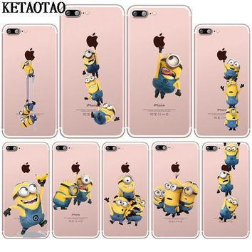 KETAOTAO Funny Cartoon Yellow Minions Phone Cases for iPhone 4S 5C 5S 6 6S 7 8 Plus X Silicon Transparent Soft TPU Cover Cases