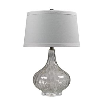 Clear Water Glass Table Lamp With White Linen Shade