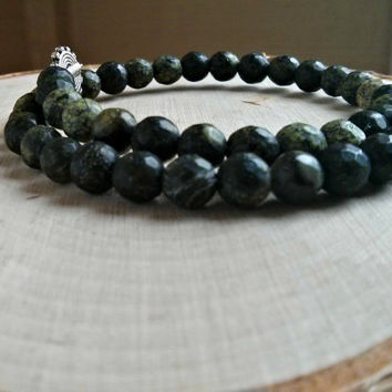 Green Gemstone Bracelet Serpentine Gem Stone Healing Crystal Aura Chakra Yoga Jewelry Unisex Mens Womens Dark Green Bracelet Beaded Silver