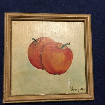 5 DAY SALE (Ends Soon) 1941 Vintage  - Oak Frame - Apple - Kitchen Decor