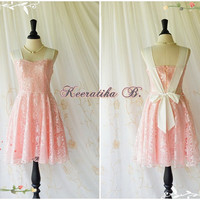 A Party Princess - Vintage Sparkle Pink Lace With White Straps Wedding Bridesmaid Dress Prom Party Dress Cocktail Dress Sundress Custom Made