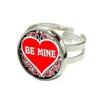 Be Mine - Love - Red Heart Silver Plated Adjustable Novelty Ring