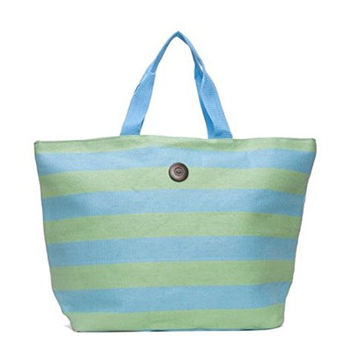 Cappelli Straworld Extra Large Toyo Striped Beach Town Tote Bag (Green & Turquoise)