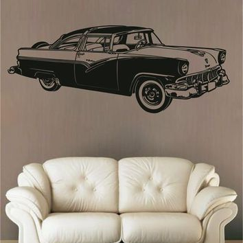 ik2636 Wall Decal Sticker skier American car classic old retro living room bedroom