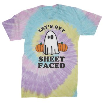 Let's Get Sheet Faced Ghost Mens Tie-Dye T-shirt