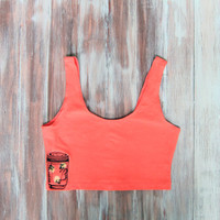 Embroidered Coral Crop Top-Yoga Crop Top-Workout Clothes-Firefly Jar-Festival Clothing-American Apparel