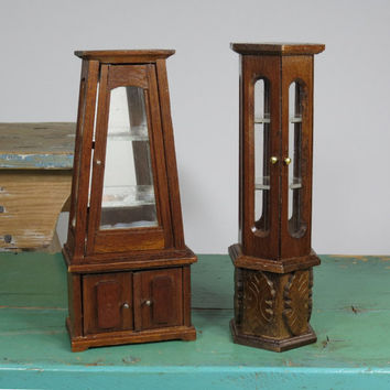 Two 1:12 Dollhouse Curio Cabinets • Working Doors • Glass Shelves • Hexagon • Tapered • Wood Dollhouse Furniture • Miniature Display