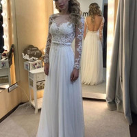 Elegant White Lace Prom Dress Evening Dresses