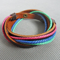 Jewelry bangle leather bracelet women bracelet men bracelet made of hemp rope and leather wrist bracelet SH-2611
