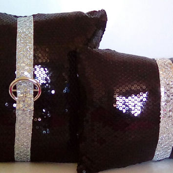 Glossy Black Sequins with Silver Sequin Trim Luxury Pillow Cover Set