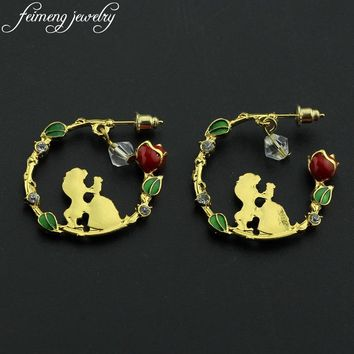 Fairytale Beauty and the Beast Earrings Charm Gold Color Princess Belle Rose Earrings For Women Fashion Jewelry Accessories